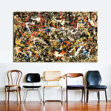 HDARTISAN Abstract Canvas Art Jackson Pollock Oil Painting Convergence 1952 Wall Pictures For Living Room Home Decor Frameless