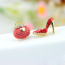Tomtosh New Fashion Cute Bags Heels Shoe Asymmetric Earrings For Women Gold wholesale High Quality boucle