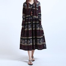 Autumn Dress Loose Waist Long Dress Cotton Long Sleeve Print Women Dress Casual Ethnic Vintage Dress(China)