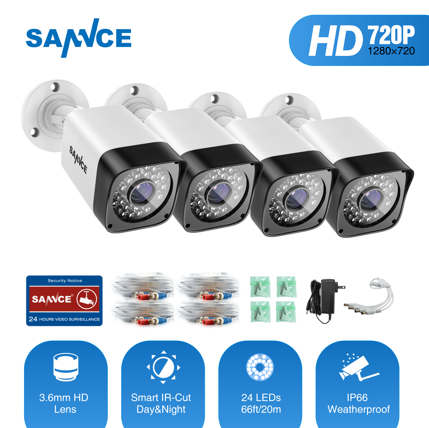 SANNCE TVI 720P 4PCS 1200TVL Bullet CCTV Camera Suite 1.0MP Waterproof IR-Cut Night Vision Camera For Surveillance System Kit BW