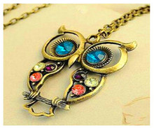 2016 Hot Sale Crystal Owl Pendant Necklace Vintage Gold Long Chain Rhinestone Animal Necklace Women Costume Jewelry gift Collier