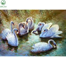 Factory Direct Sale Handwork Diamond Painting Cross Stitch White Swan Lake Crystal Rhinestone Embroidery DIY Mosaic Needlework