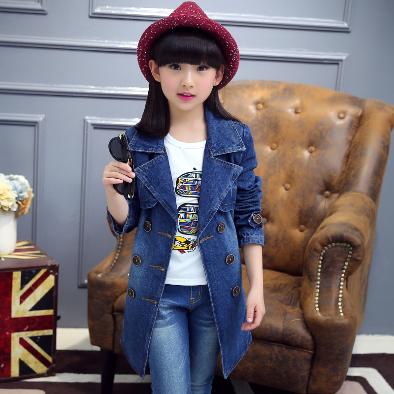 Fashion Spring Autumn  MD-LONG Children Girls Denim Jacket  Baby Girl Coat Children Girl Casual Coat Girls Clothes with Waistban<br>