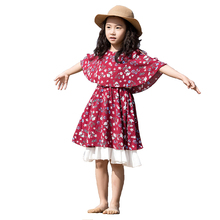 Dresses Girls Kids 10 Years Fashion Print Flower Chiffon Beach Dress Kids Bohemianchildren Dresses Pretty Hot Girls dress Summer