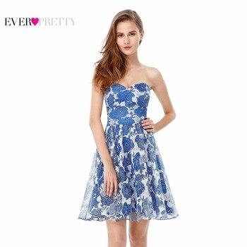 Robes de Cocktail 2017 Rapide Gratuite EP05611 Bleu Clair Fleur Sans Bretelles En Mousseline de Soie Parti Dress