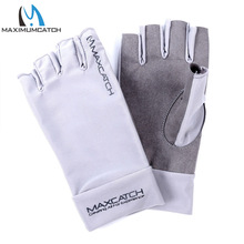 Maximumcatch Fishing Gloves Fly Fishing Anti-UV Sun Protection Half Finger 50+ UPF Outdoor L&XL Size(China)