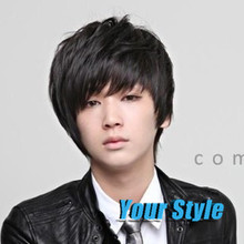 Cheap Synthetic Short Pixie Cut  Boys Wigs Korean Hairstyles for Men Asian Men Wig Naturak Hair Short Black Hair Wig with Bangs