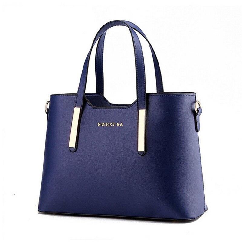 Popular Fashion Women Leather handbags Top-Handle Shoulder Messenger Bags Solid Office Ladies Tote Bag Sacola Black Beige Blue<br><br>Aliexpress