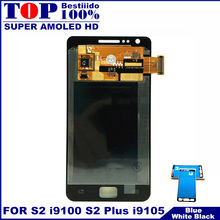 For Samsung Galaxy S2 I9100 LCD Touch Screen Display with Digitizer Glass Assembly Replacement S2 PLUS I9105 LCDS Free Sticker(China)