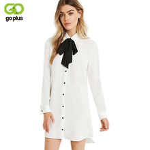GOPLUS Spring Fall Women Elegant White Green Long Sleeve Mini Shirt Dress Plus Size Vintage Bow Button Loose Causal Brand Dress