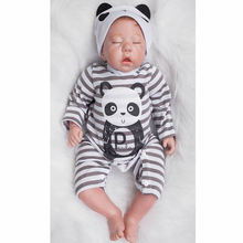 With Panda Romper 20 Inch Reborn Baby Dolls Soft Silicone Newborn Sleeping Babies Toy Lifelike Doll With Hair Kids Birthday Gift(China)