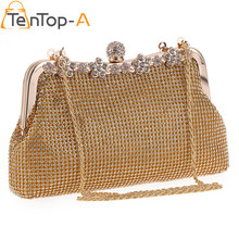 TenTop-A Luxury Both Sides Rhinestone Hobos Evening Bag Metal Handle Alloy Chain Clutch Bags Bridal Wedding Party Shoulder Bag