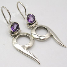 Silver Amethysts FANTASTIC NEW Dangle Earrings 3.8CM(China)