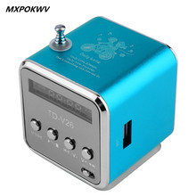 MXPOKWV Portable Mini Speaker Aluminum Alloy Stereo Loudspeaker Speaker mp4 mp3 Music Player With FM Radio Micro SD USB Play