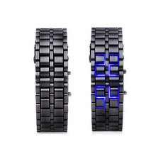 LUHAN Lava Style LED Digital Wristwatches Iron Samurai Metal Black Straps LED Watch Fashion Men's Women Watches For Lover LL(China)
