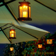 Free shipping Home House Outdoor Candle Lantern Solar Powered Landscape Umbrella Lantern Hang Lamp LED Bulbs Light