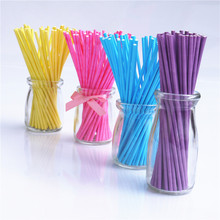 wholesale pink 100Pcs/lot Pop Sucker Sticks Cake Plastic Lolly Lollipop Candy Chocolate DIY Modelling Mould Cake pop stick 15cm(China)