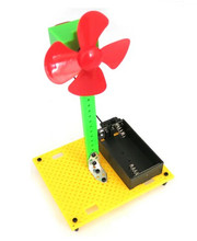DIY Handmade Toy Kit Four-Leaf Multicolor Plastic Propeller Fan Model Science and Technology Paddle Fan Windmill Model Puzzle