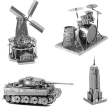 PROMOTION!Multi-Style 3D Puzzle Educational Toys Jigsaw Puzzles For Kids Tank Building Metal Stainless Steel DIY Assembly Model