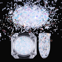 1.5g Colorful Hexagon Nail Sequins Flakes Stripe Paillette Flakies White Snowflake Glitter Powder Nail Art Tips Decoration(China)