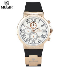 MEGIR Chronograph 24 Hours Function Men Sport Watches Silicone Gold Luxury Watch Men Top Brand Military Watches Relogio /ML3007