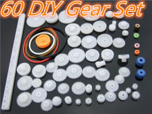 60pcs/lot K012b Plastic Gear Set DIY Rack Pulley Belt Worm Single Double Gears Sell At A Loss USA Belarus Ukraine(China)