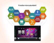 Touch Screen Car DVD Player 6.2inch 2 din GPS Navi Car headunit Stereo Car Radio Bluetooth Car Video Audio Player FM AM+SD Card