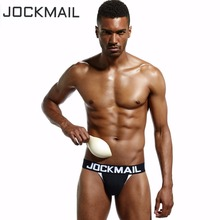 Buy JOCKMAIL Brand 5PCS Sexy PUSH UP CUP ENHANCING JOCKSTRAP Men Underwear Penis pouch tanga hombre String Thong cueca gay Underwear