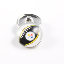 20Pcs/lot NFL Series Sports Glass Snap Jewelry Pittsburgh Steelers Football Team Charm Fit 18mm Snap Button Bracelet Necklace
