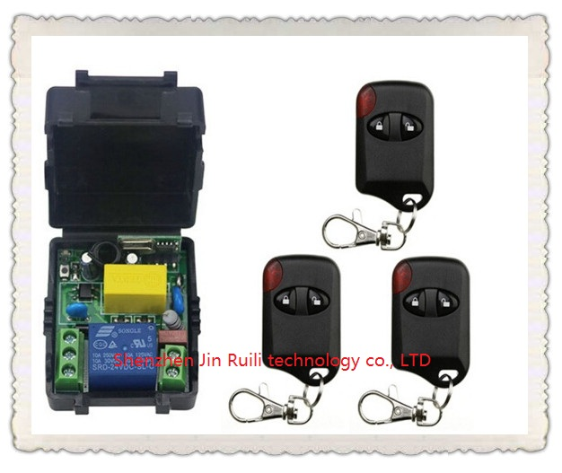 AC220V 10A 1CH Wireless Remote Control Switch System 1*Receiver + 3 *cat eye Transmitters for Appliances Gate Garage Door<br><br>Aliexpress