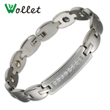 Wollet Healing Energy Stainless Steel ID Bracelet with Crystal Magnetic Hematite Germanium Bracelet Bangle for Women Me