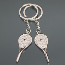 Wholesale Tennis racket Love Keychain Fashion men women lover Keyring Couple Key Chain jewelry Valentine's Day Gift