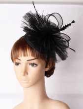 High quality sinamay base fascinator headpiece feather wedding headwear race hair accessories millinery ladies church hat MYQ116