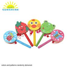 1 Pcs Lovely Wooden Drums Percussion Infant Kids Music Instruments Drum Toys For Kids Baby Hand Shaking Drum Rattle Sound Toy