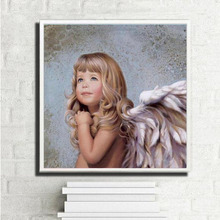Hand painted acrylic oil paintings wall pictures for living room Coloring by numbers cuadros decoracion The Wing Angel girl TF22(China)