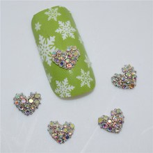 10psc New color Rhinestone Heart-shaped 3D Nail Art Decorations,Alloy Nail Charms,Nails Rhinestones  Nail Supplies #272