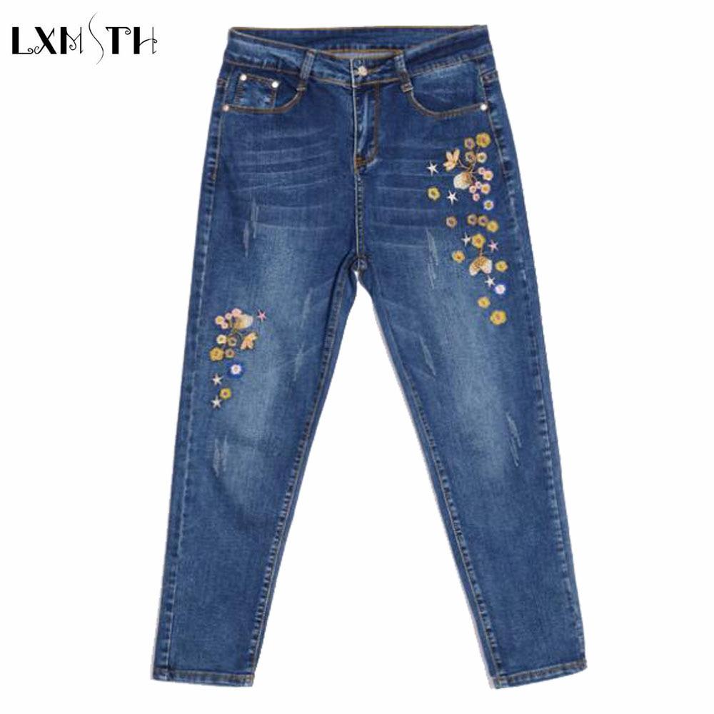Ladies Embroidered jeans 2017 Spring New Slim Pencil Pants jeans High Waist Ankle Lengt Pants For Women Fashion Denim TrousersÎäåæäà è àêñåññóàðû<br><br>