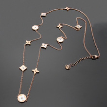 Long chain fashion white mother of pearl natural stone four leaf clover necklaces Titanium steel jewelry for women(China)