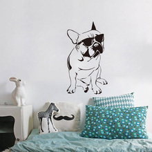 Funny French Buldog Decals Kids Room Vinyl Wall Sticker Dog With Sunglasses Cute Bedroom Wall Paper Home Decor