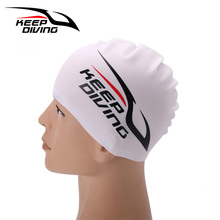 KEEP DIVING Unisex Silicone Swimming Cap For Women Men Children Kids Long Hair Hat Protect Ears Cover Waterproof Pool Sports Kit(China)
