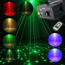 Full Color RGB Laser Stage Light Projector 3W Blue LED Stage Effect Lighting for DJ Disco Party KTV With Remote Control(China)