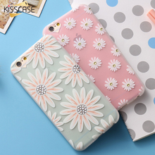 KISSCASE For iPhone 6 6S Plus Daisy Flower Case Soft TPU Silicon Cover For iPhone 6 6S Cases With Dust Plug Diamond Crystal Capa