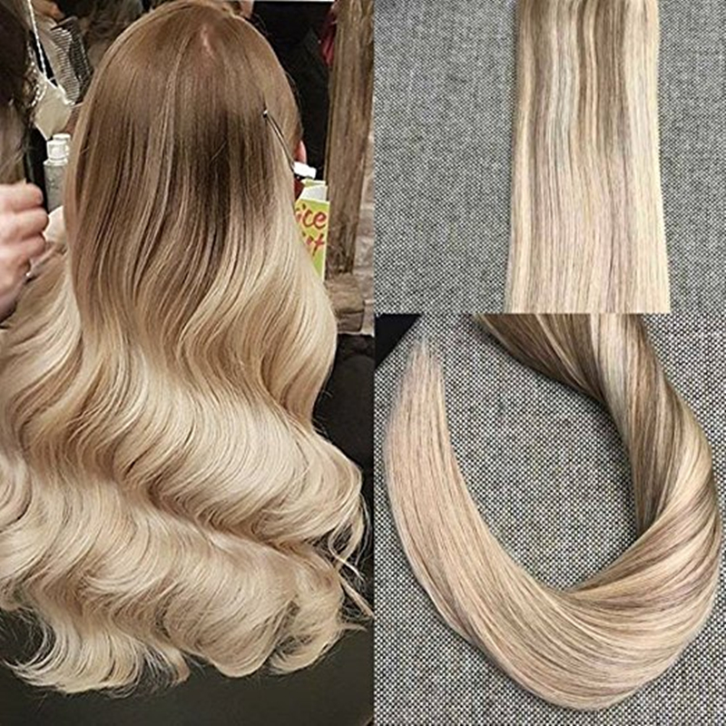 Full Shine Tape in Hair Extensions Ombre Color #10 Fading to #18 Ash Blonde and #24 Skin Weft Brazilian Human Hair Extensions<br><br>Aliexpress