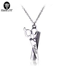Vintage Replica Scissors Necklace Charm Pendant Scissors Combs Fashion Accessories Hairdresser stylist Seamstress Gift Sewing(China)