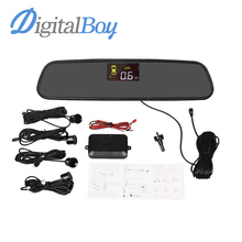 Brand New Car Rear Mirror LCD Parking Sensor Reverse Backup Kit Rearview With 4 Sensors Car Accessories Reversing Safety()