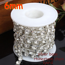 Free shipping 6MM 1 yard AAA-Grade Crystal Clear Round Glass Rhinestone Cup Chain Silver Base