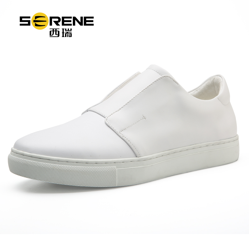 SERENE Brand 2017 Men Leather Shoes Non-slip Wear Slip on Men Fashion Casual Shoes Black White Color Comfortable Moccasins 6326<br>