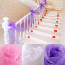ZLJQ 4.5m Sheer Organza Roll Spool Crystal Organza Fabric Table Runner Chair Sash Swag Wedding Party Car Stair Bow Valance Decor(China)