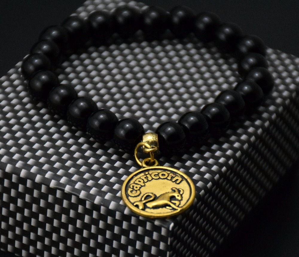 zodiac bracelet jewelry 10mm black glass beads bracelet golden horoscope charm elastic Men bracelets & bangles jewelry bijoux