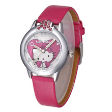 Cartoon cute Beautiful crystal Hello Kitty kt cat heart-shaped style dial children students girl's leather quartz wrist watch